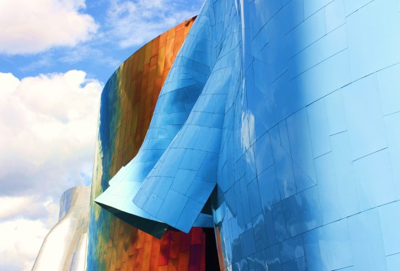 Swells of metallic undulation at the Experience Music Project by Alex Mendez