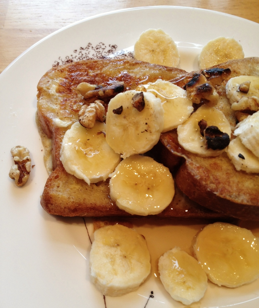A plentiful breakfast with Banana Walnut French Toast by Alex Mendez