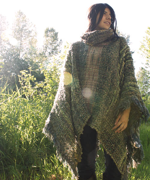 Sage, green & beige poncho at Sur Design Studio