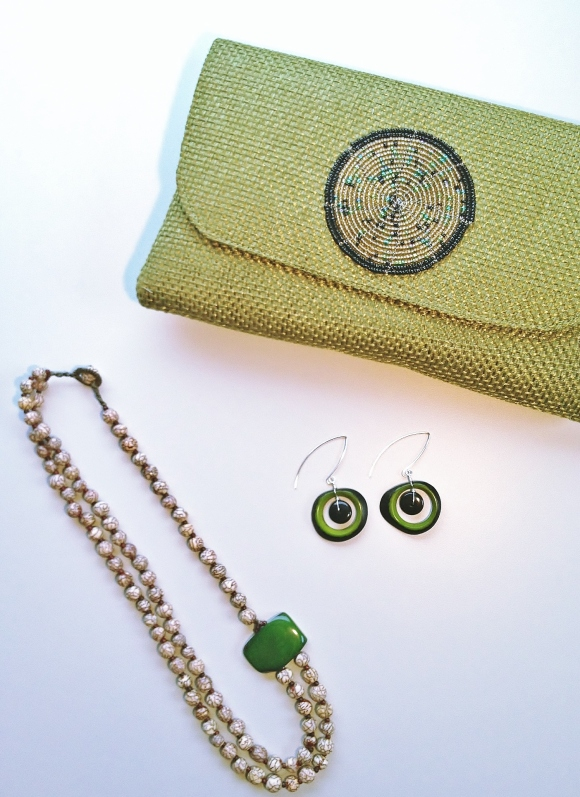 Sage Clutch, Long Fern Crocodile Earrings and Katrina Necklace at Sur Design Studio.