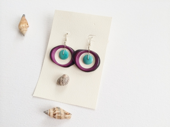 Purple Crocodile Earring made out of the Tagua seed