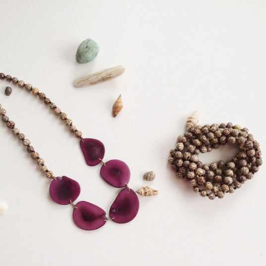 Anita Necklace & Long Strand Necklace/Bracelet made from Manila Palm and the Tagua seed.