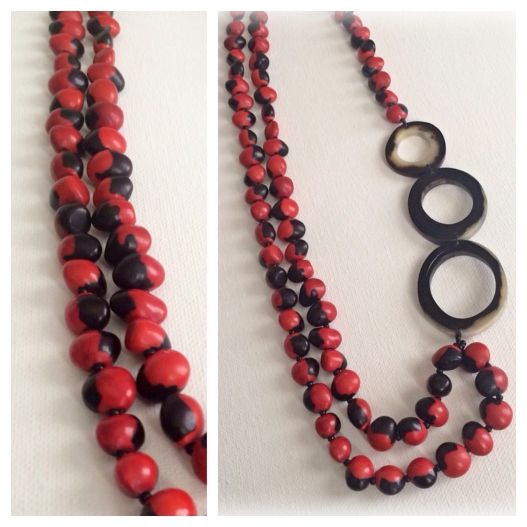 Bold Red Necklace made with The Huayuro seed and Bullhorn.